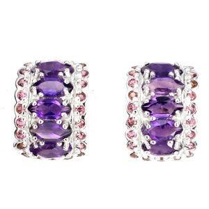 Elegant Deep Purple Amethyst Marquise Cuff Earring